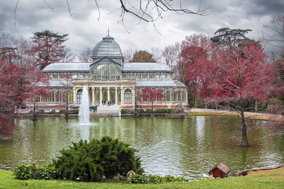 The Palacio de Cristal over the lake in Madrid at winter, Spain