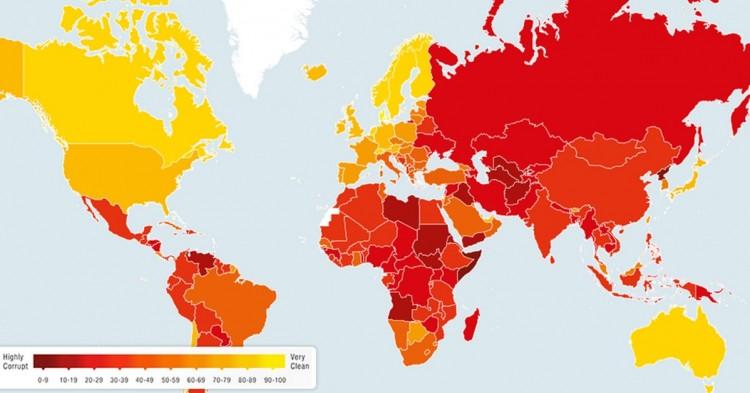 Mapa de la corrupción en el mundo (The Independent)