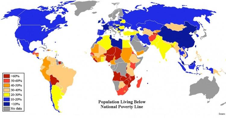 Población por debajo del umbral de la pobreza (CIA World Factbook)