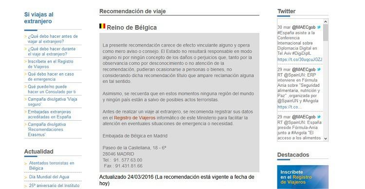 Página de recomendaciones para viajar a Bélgica después de los atentados. (Ministerio de Exteriores).