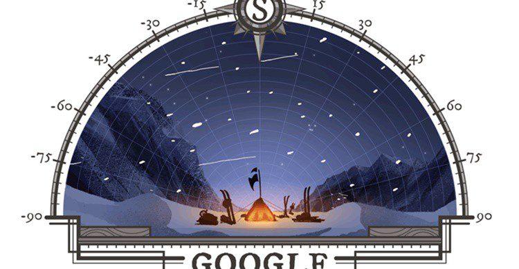 Doodle en homenaje al aniversario de la expedición al Polo Sur (Google).
