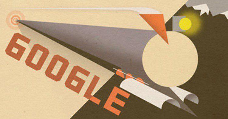 Doodle de homenaje al centenario de la conclusión de las obras del Transiberiano (Google).