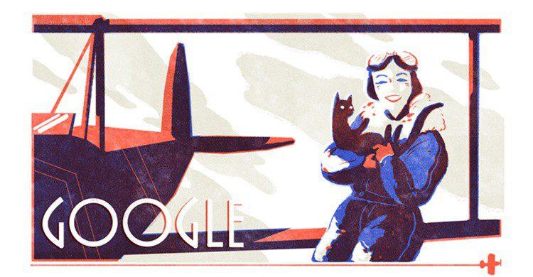 Doodle de homenaje a Jean Batten (Google).