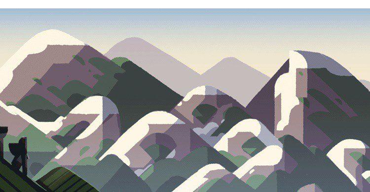 Doodle de homenaje a la montaña (Google).