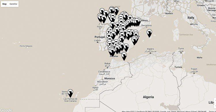 Mapas de toros de Osborne en España (osborne.es)