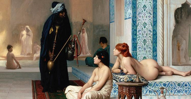 Los baños del harén, de Jean-Léon Gérôme (Wikipedia)