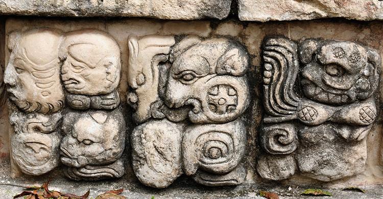 Detalle de ruinas mayas en Copan, Honduras