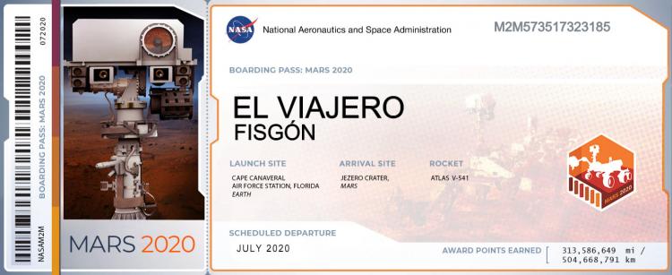 Billete para viajar a Marte (Fuente: mars.nasa.gov)